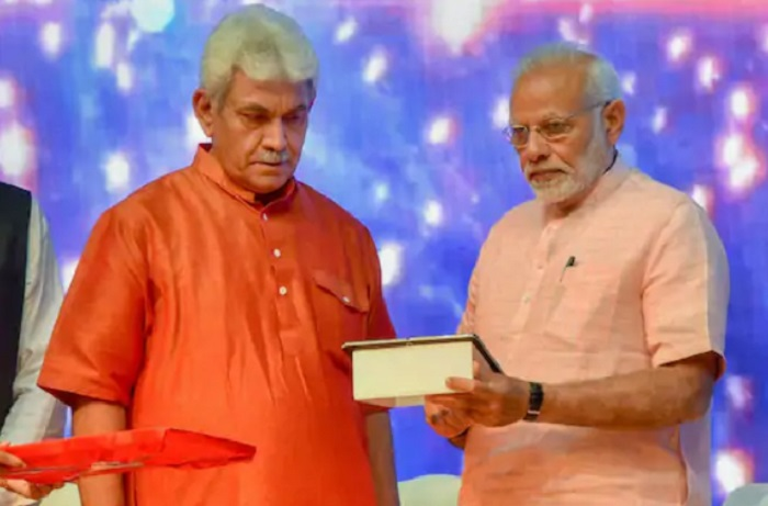 Manoj Sinha with PM Modi