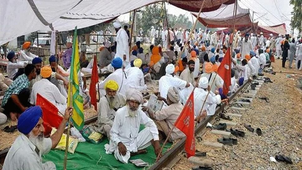 Farmers in Railway Track at Punjab