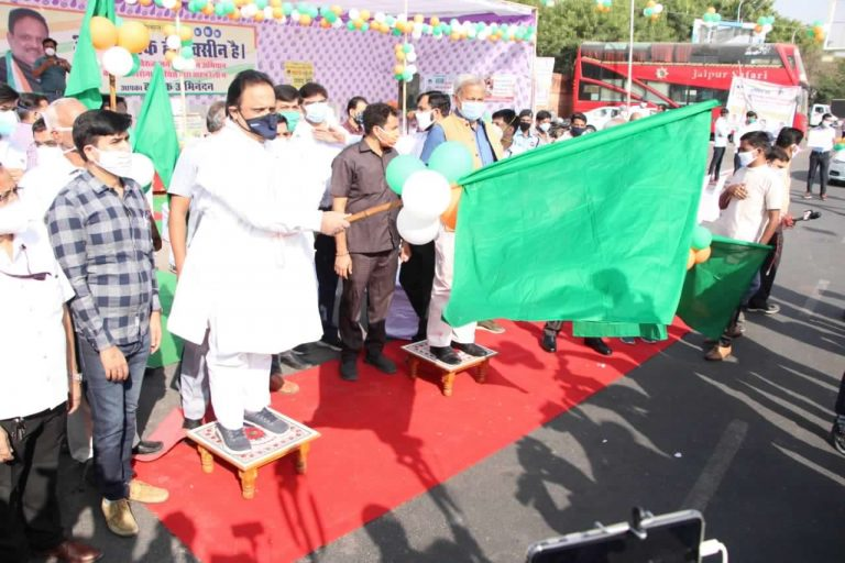 राजस्थानः चिकित्सा मंत्री ने 'कोरोना वारियर्स वाहन रैली' को दिखाई हरी झंडी
